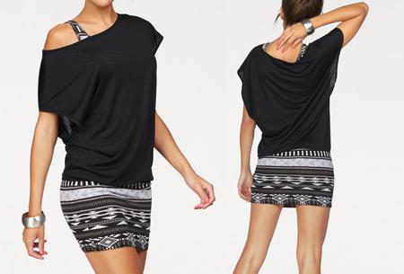 Two piece Aztec kledingset | Jurk + top voor een spotprijs! zwart