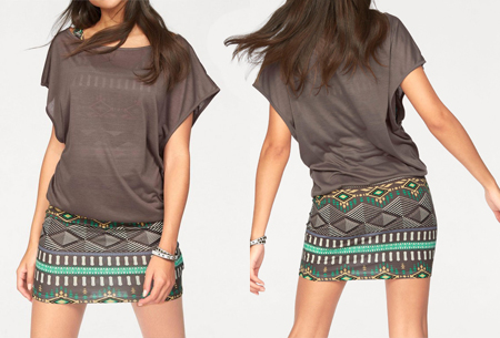 Two piece Aztec kledingset - Maat L - Coffee