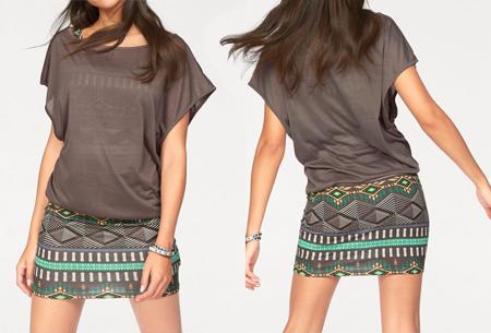 Two piece Aztec kledingset | Jurk + top voor een spotprijs! coffee