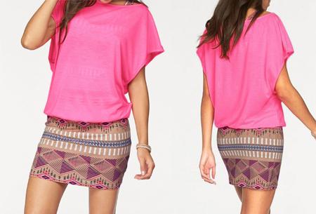 Two piece Aztec kledingset | Jurk + top voor een spotprijs! roze
