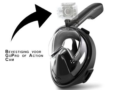 Snorkelmasker met aansluiting voor GoPro    Ontdek het waterparadijs op een comfortabele manier
