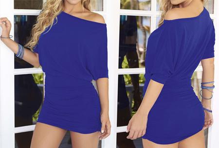 Off the shoulder jurk | Vrouwelijke jurk voor een verleidelijke look blauw