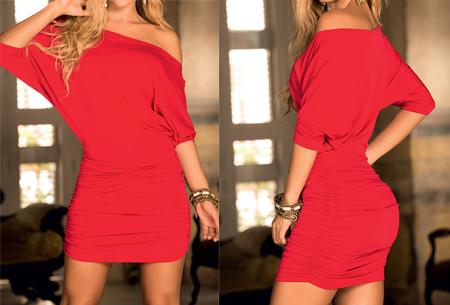 Off the shoulder jurk | Vrouwelijke jurk voor een verleidelijke look rood