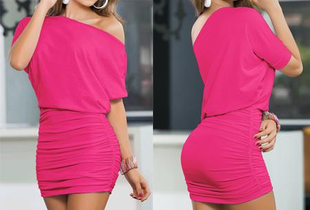 Off the shoulder jurk | Vrouwelijke jurk voor een verleidelijke look fuchsia