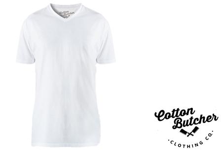 Cotton Butcher longfit T-shirts 3-pack  | Topkwaliteit lange shirts van 100% katoen voor mannen! wit v-hals