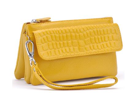 Multifunctionele portemonnee | Tas, clutch en portemonnee in één! Geel