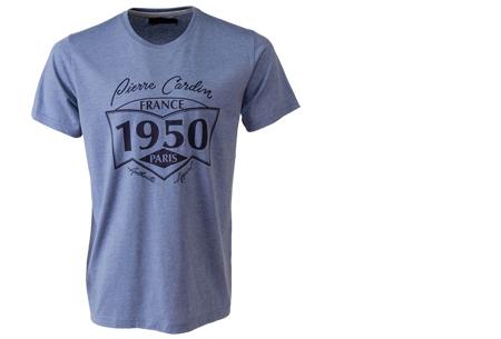 Pierre Cardin heren t-shirts met opdruk | Keuze uit 19 shirts van 100% katoen Blauw