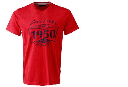 Pierre Cardin heren t-shirts met opdruk | Keuze uit 19 shirts van 100% katoen Rood