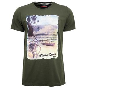Pierre Cardin heren t-shirts met opdruk | Keuze uit 19 shirts van 100% katoen Legergroen