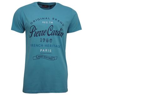Pierre Cardin heren t-shirts met opdruk | Keuze uit 19 shirts van 100% katoen Aqua