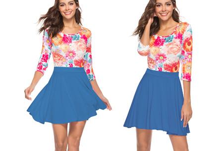 Flower dress | Vrolijke en zwierige bloemenjurk  Blauw