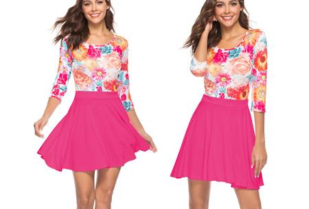 Flower dress | Vrolijke en zwierige bloemenjurk  Fuchsia