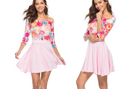 Flower dress | Vrolijke en zwierige bloemenjurk  Lichtroze
