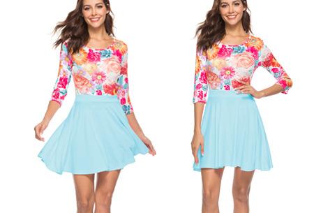 Flower dress | Vrolijke en zwierige bloemenjurk  Mintgroen