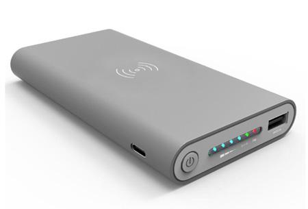 Qi wireless powerbank 10.000 mAh | Overal en altijd je telefoon draadloos opladen Grijs