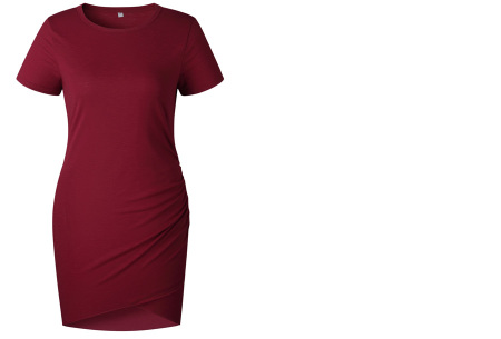 T-shirt dress | Stijlvolle basic voor elke vrouw Wijnrood korte mouw