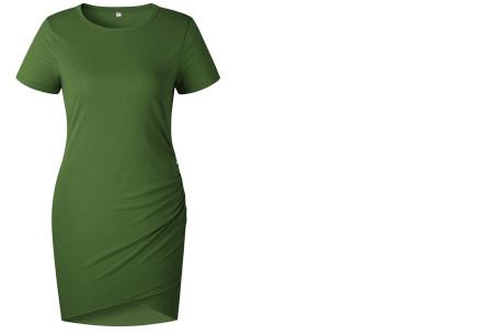 T-shirt dress | Stijlvolle basic voor elke vrouw Groen korte mouw