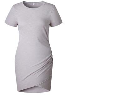 T-shirt dress | Stijlvolle basic voor elke vrouw Grijs korte mouw