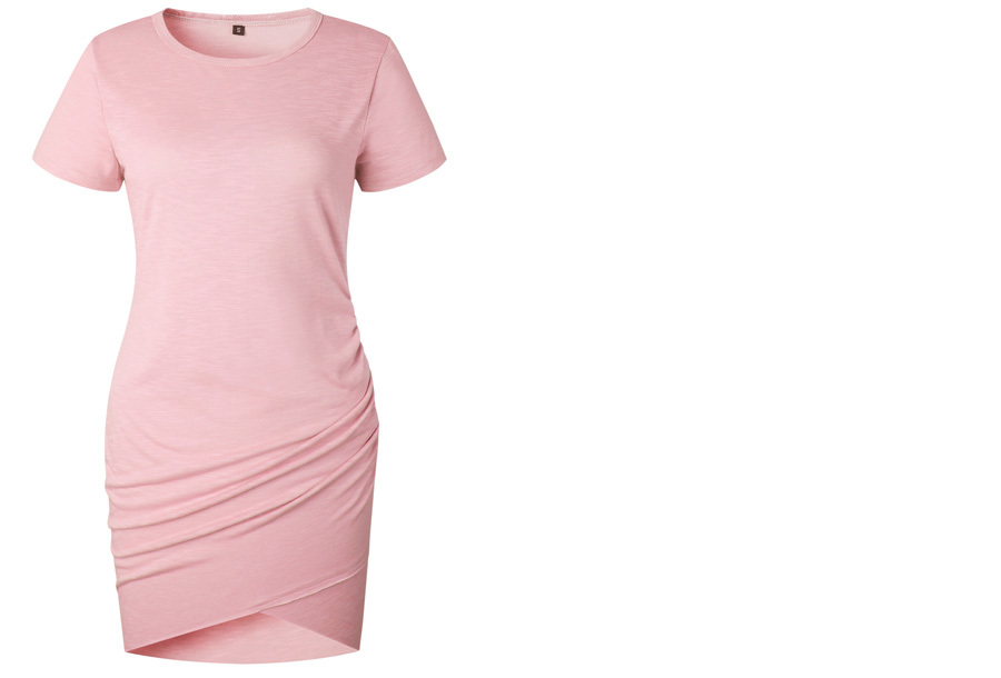 T-shirt dress - Maat L - Korte mouw - Roze