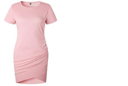 T-shirt dress | Stijlvolle basic voor elke vrouw Roze korte mouw