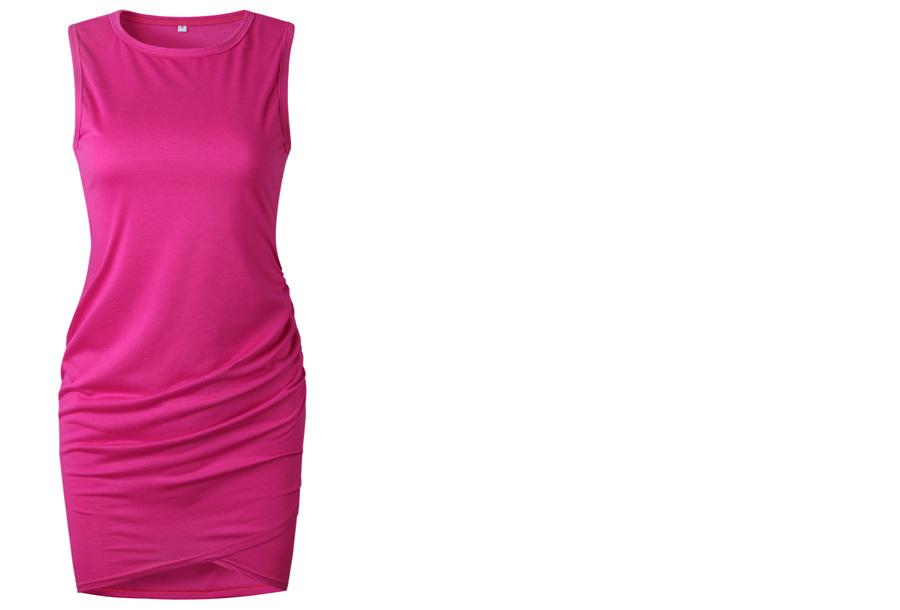 T-shirt dress - Maat S - Mouwloos - Fuchsia