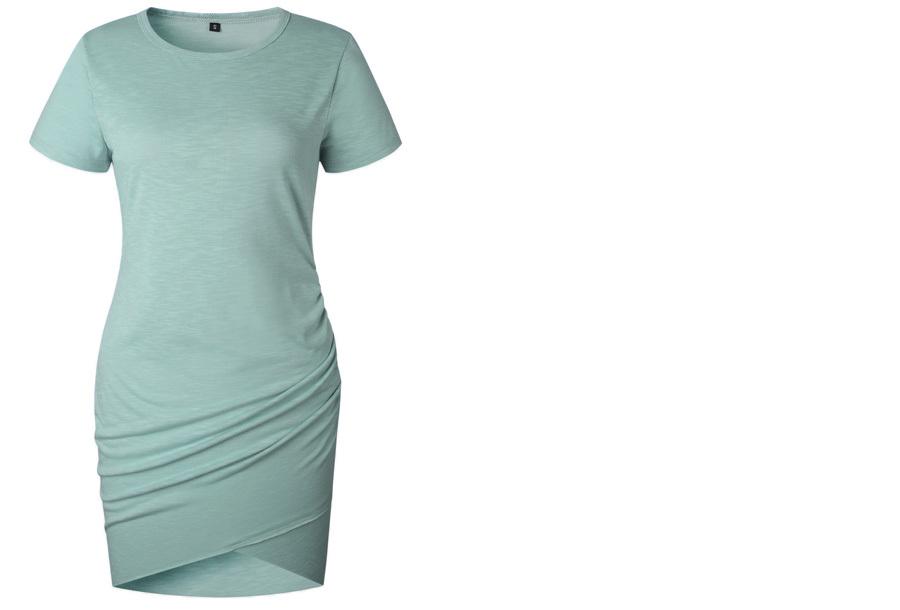 T-shirt dress - Maat M - Korte mouw - Grijs/blauw