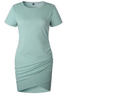 T-shirt dress | Stijlvolle basic voor elke vrouw Grijs/blauw korte mouw