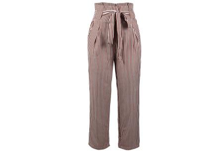 Striped highwaist pants | Stijlvolle & comfortabele dames broek khaki