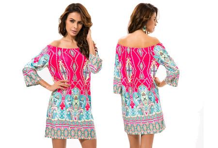 Off shoulder jurk met bohemian print | Leuke jurkjes verkrijgbaar in 12 prints #1