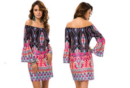 Off shoulder jurk met bohemian print | Leuke jurkjes verkrijgbaar in 12 prints #2
