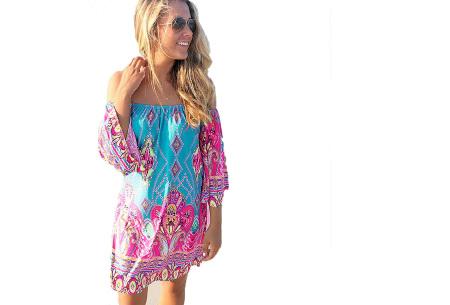 Off shoulder jurk met bohemian print | Leuke jurkjes verkrijgbaar in 12 prints #3