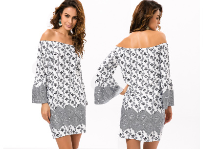 Off shoulder jurk met bohemian print | Leuke jurkjes verkrijgbaar in 12 prints #4