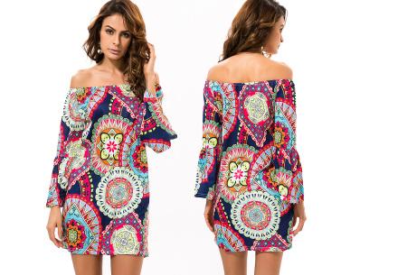 Off shoulder jurk met bohemian print | Leuke jurkjes verkrijgbaar in 12 prints #8