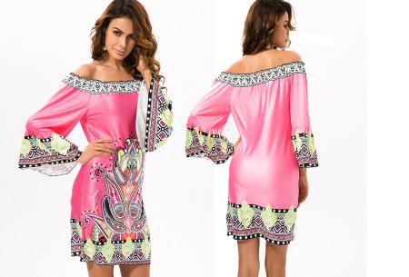 Off shoulder jurk met bohemian print | Leuke jurkjes verkrijgbaar in 12 prints #9