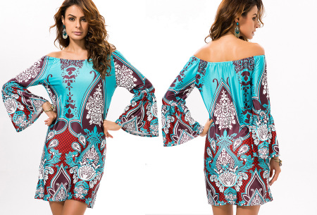 Off shoulder jurk met bohemian print | Leuke jurkjes verkrijgbaar in 12 prints #11