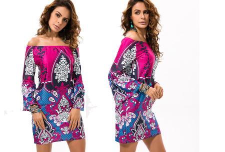 Off shoulder jurk met bohemian print | Leuke jurkjes verkrijgbaar in 12 prints #12