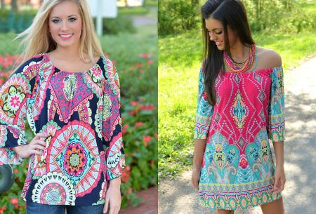 Off shoulder jurk met bohemian print | Leuke jurkjes verkrijgbaar in 12 prints