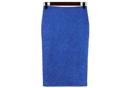 Suède look rok | Stijlvol high waist model  blauw