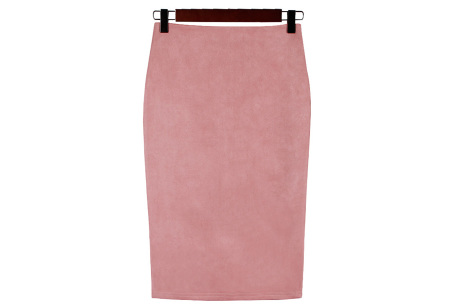 Suède look rok | Stijlvol high waist model  roze