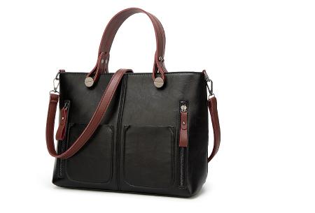 Cowboy hand- en schoudertas | Stijlvolle tas met vintage lederlook zwart