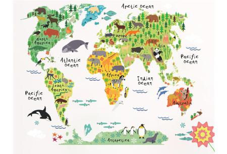 Wereldkaart muursticker voor kinderen | Spelenderwijs topografie leren A