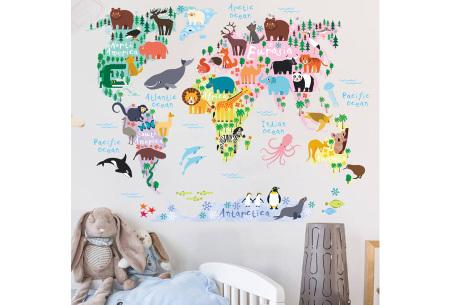 Wereldkaart muursticker voor kinderen | Spelenderwijs topografie leren