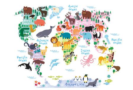 Wereldkaart muursticker voor kinderen | Spelenderwijs topografie leren B