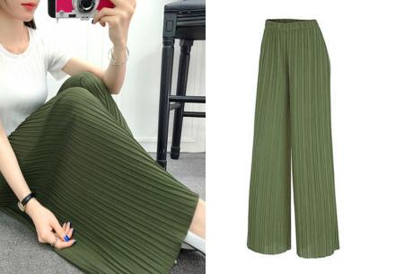 Plissé broek   Comfortabele stretchstof voor ultiem draagcomfort army groen