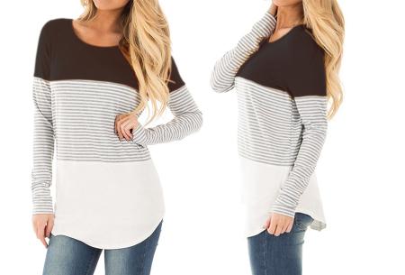 Striped longsleeve shirt | Trendy, casual en heerlijk comfortabel zwart