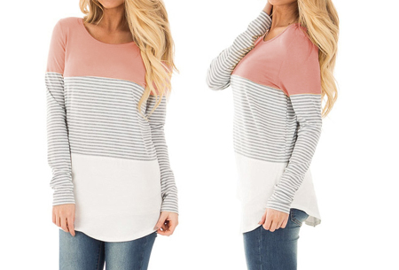 Striped longsleeve shirt | Trendy, casual en heerlijk comfortabel roze