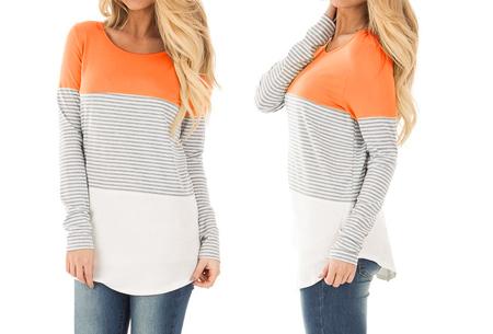 Striped longsleeve shirt | Trendy, casual en heerlijk comfortabel oranje