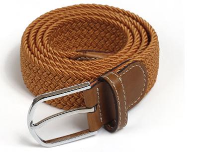 Elastische geweven riem | Dé stretch riem die altijd perfect zit! Camel