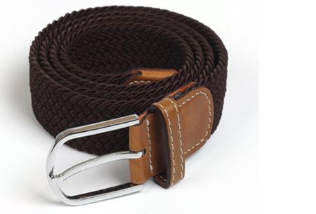 Elastische geweven riem | Dé stretch riem die altijd perfect zit! Coffee