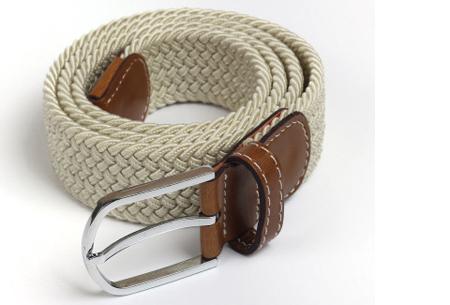 Elastische geweven riem | Dé stretch riem die altijd perfect zit! Beige